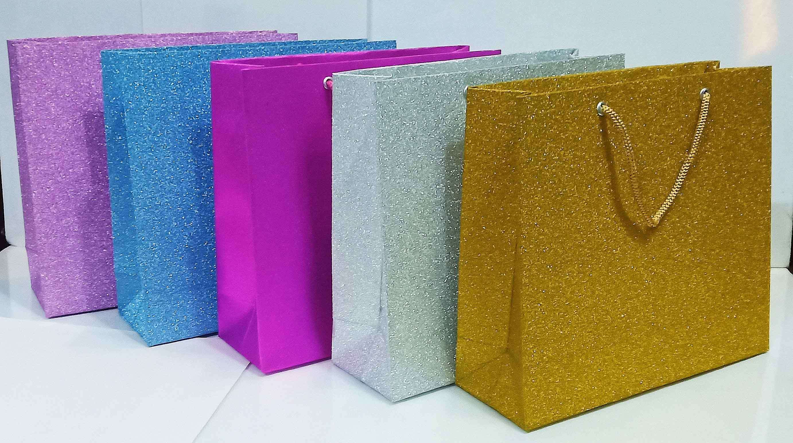 Buy Handmade Paper Carry Bags Multicolor Size 22 X 23 5 X 8 Cm Set Of 5 Dsc001
